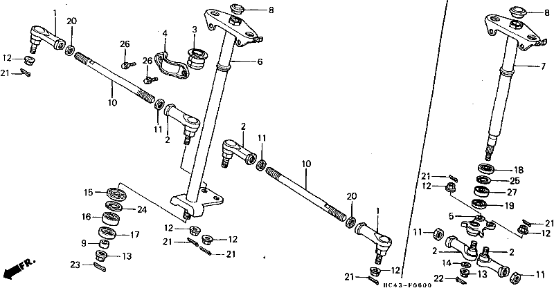 honda 300 fourtrax steering diagram